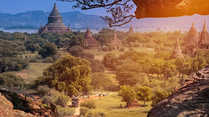 View of Pagodas on Hilltop in Bagan in Myanmar
