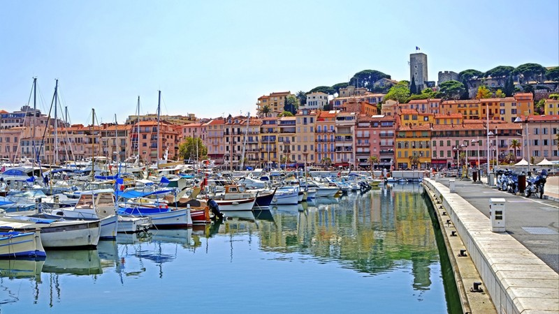 Old city and harbor in Cannes, French Riviera, France