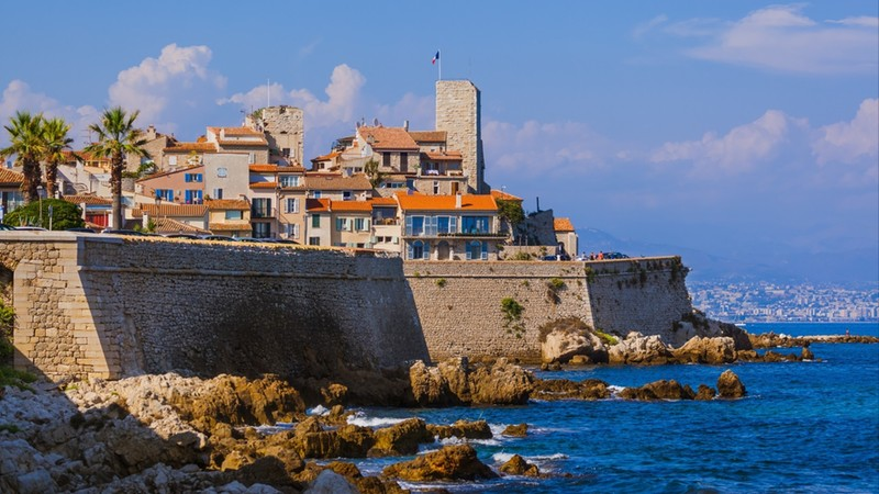 Seascape of Antibes in Provence France - travel and architecture background