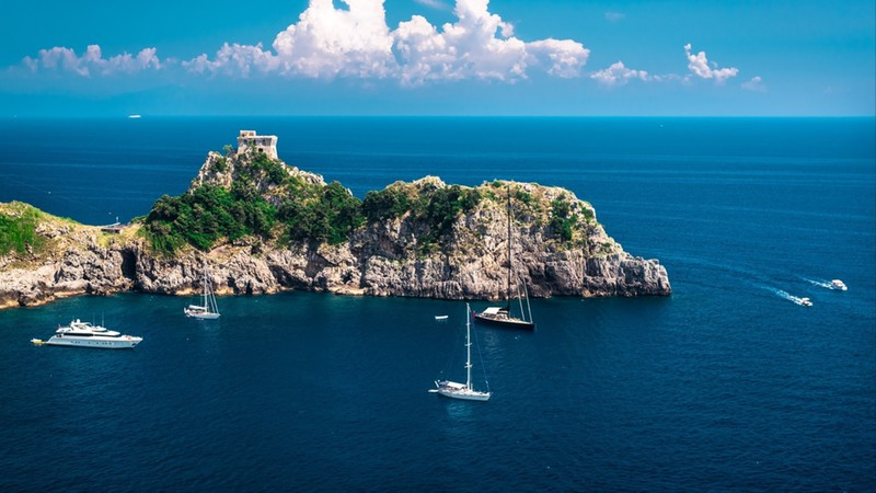 Amalfi Coast. Stunning landscape with hill and Mediterranean sea. Italy
