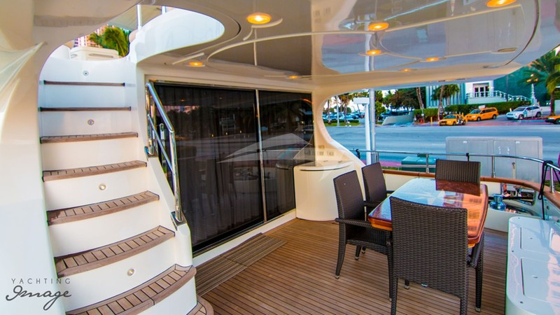 DREAMER :: Aft Deck and Stairs to Top Deck