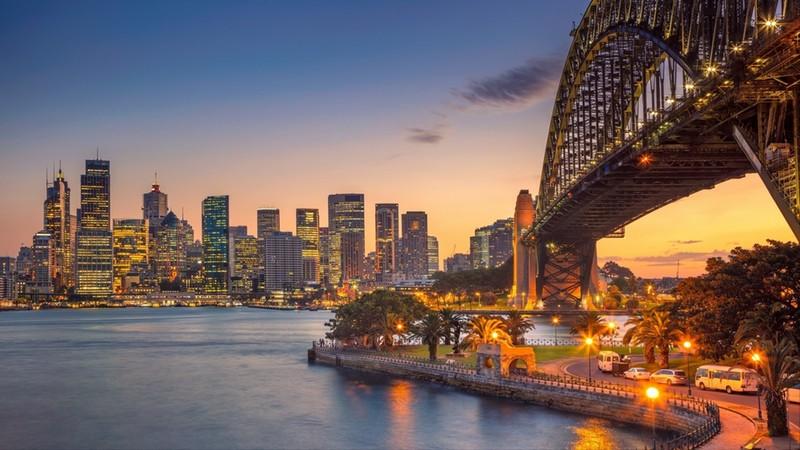Cityscape image of Sydney, Australia with Harbour Bridge