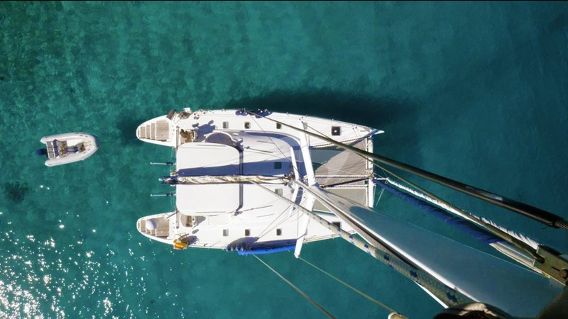 Ma Ha from the masthead - MA HA Yacht Charter