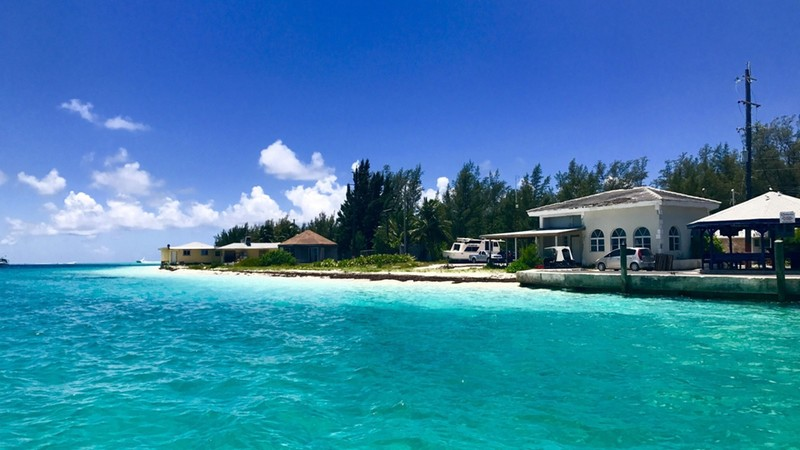 A lone beach house at the sea side of Bimini's Ocean, Bahamas