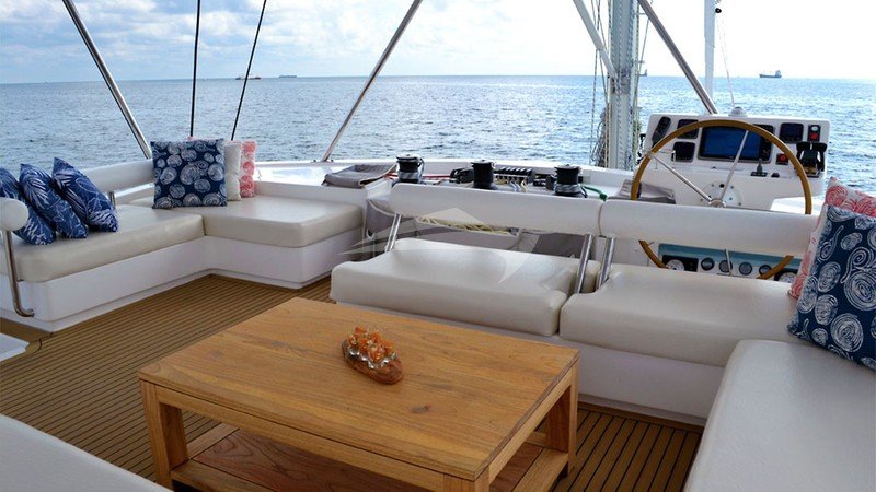SOMETHING WONDERFUL :: The flybridge helm and lounging area
