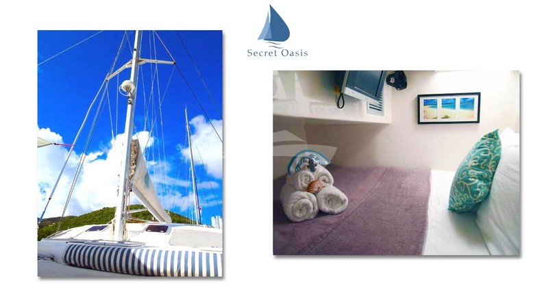 The amidships starboard guest queen suite  - SECRET OASIS Charter Yacht