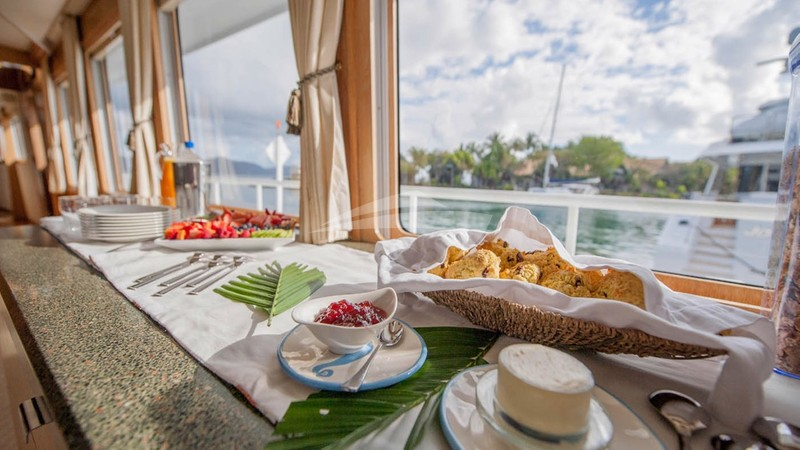 Morning buffet - FREEDOM 120 Charter Yacht