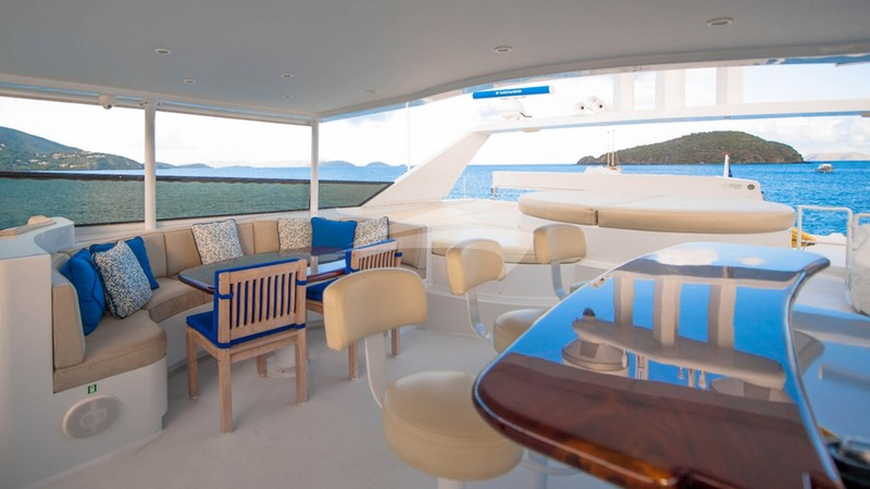 Top deck lounge and spa area - FREEDOM 120 Charter Yacht