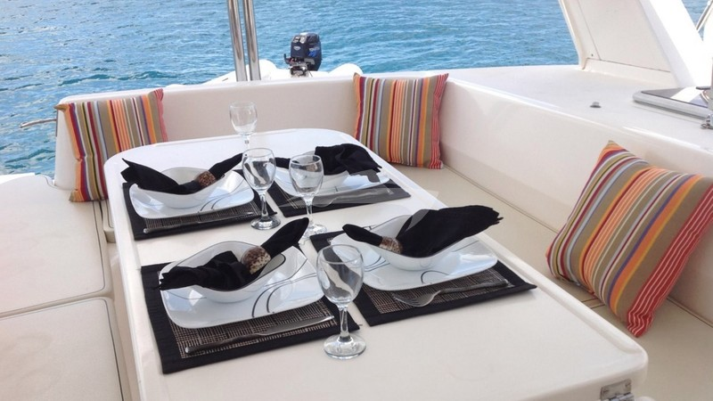 Aft Deck - TWO IF BY SEA Charter Yacht