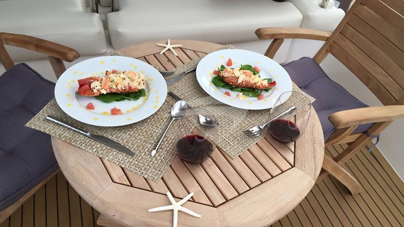 SOMETHING WONDERFUL :: Caribbean lobster on the foredeck.
