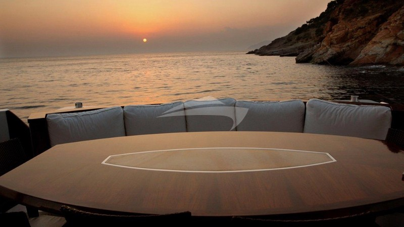 Aft deck at sunset - SERENITY II Charter Yacht