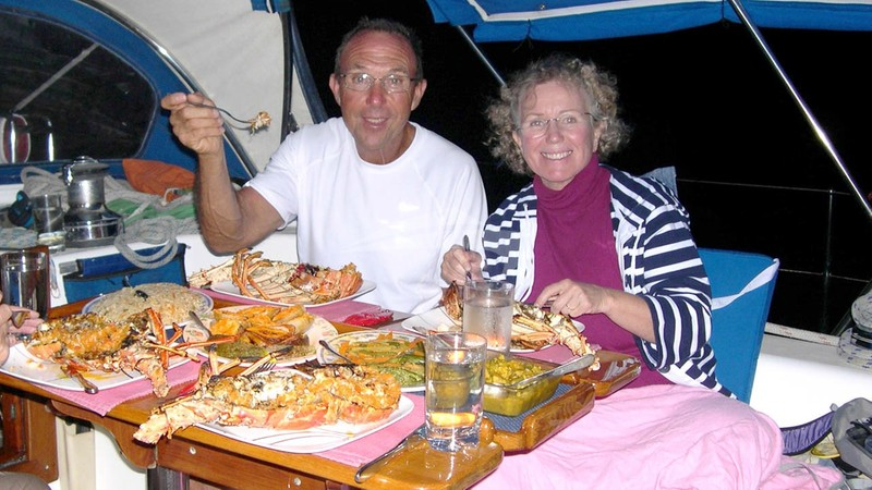 Lobster Dinner in the Tobago Cays