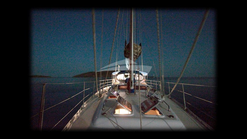 Scorpio's foredeck by night