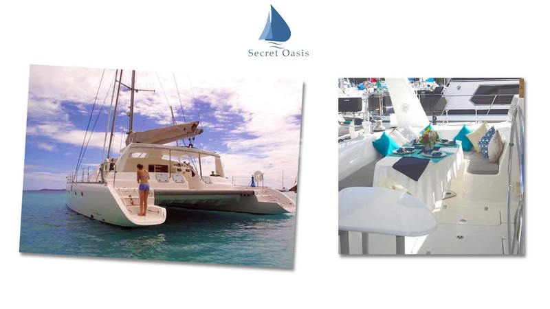 Anchored and ready to enjoy the evening - SECRET OASIS Yacht Charter