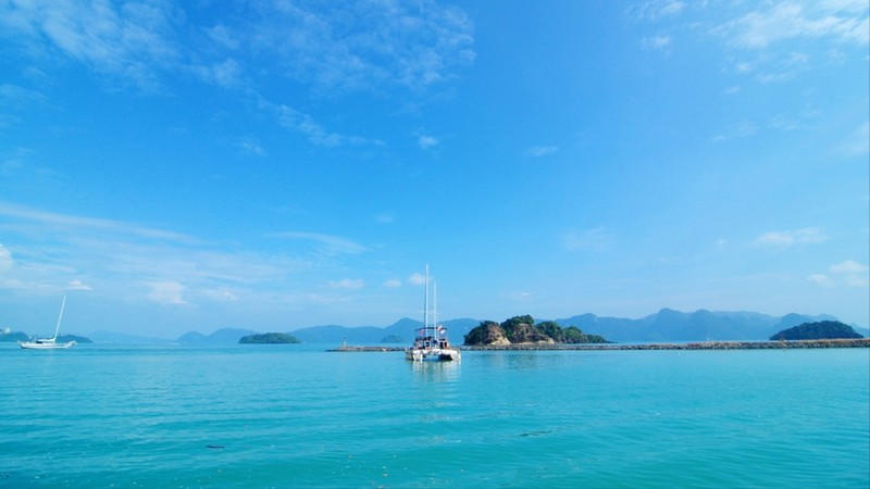 Exotic blue sea background with yacht in Malaysia