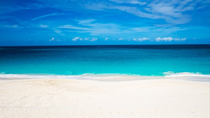 A really bright and abstract beach and ocean view in the Bahamas. New Providence