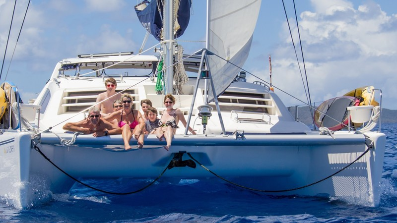 Guests enjoying a great sail on the foredeck - VIKING DREAM Charter Yacht