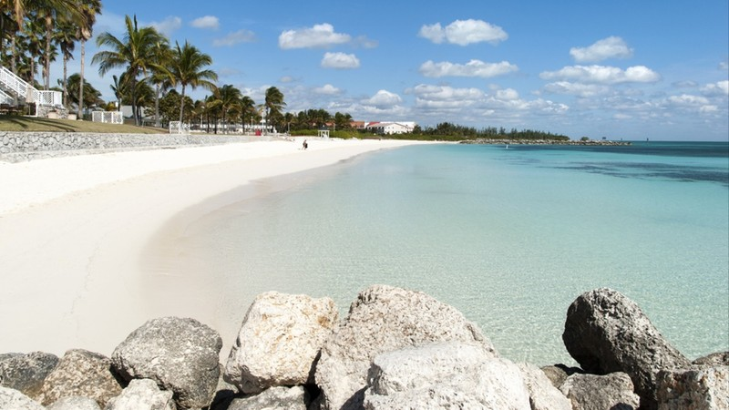 The empty Lucaya beach in Freeport town on Grand Bahama Island