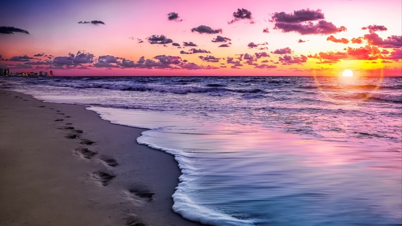 Cancun beach at sunset, Mexico