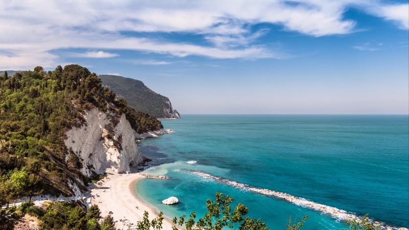View of Numana beach in Ancona Italy