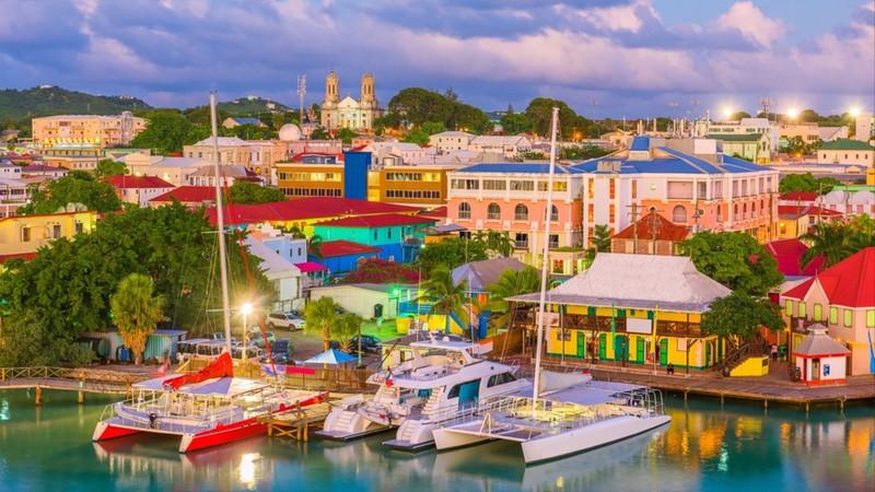 St. John's, Antigua port and skyline at twilight