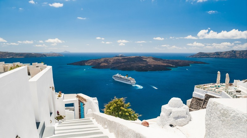 View from luxury hotel into bay, Greek islands