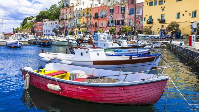 vivid beautiful Procida island, Italy
