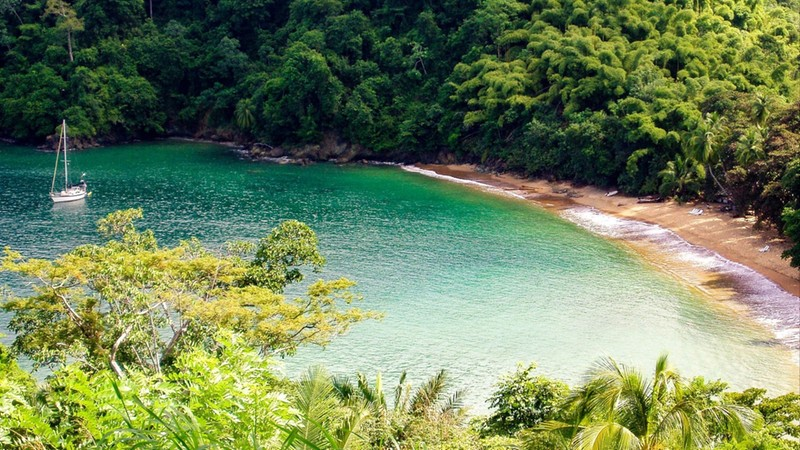 Englishman's Bay is a secluded beach on the leeward coast of Tobago in the Caribbean Ocean