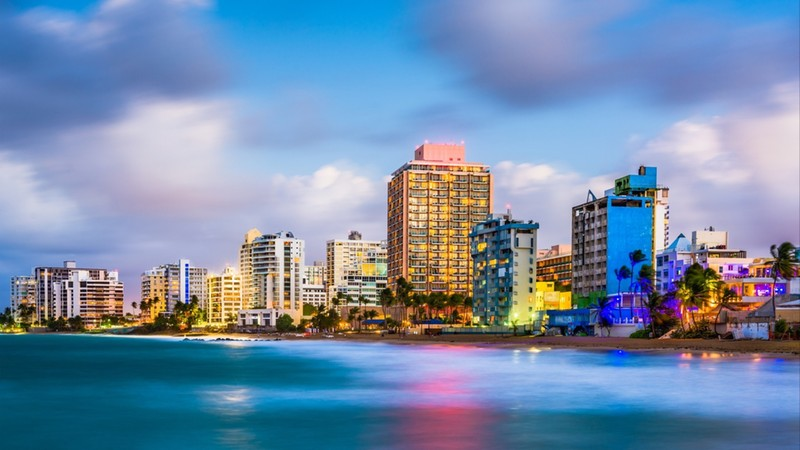 San Juan, Puerto Rico skyline on Condado Beach
