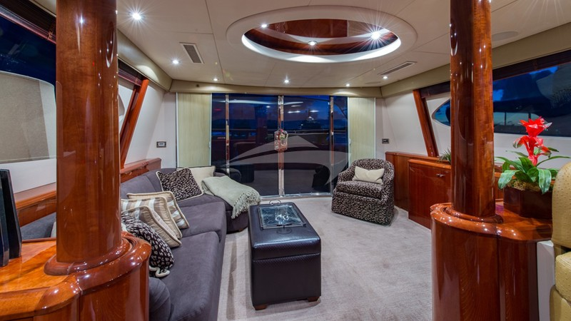 PASTAIO :: Enclosed Flybridge Lounge Aft View