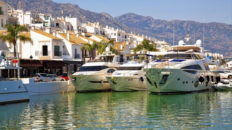 Luxury yachts in Puerto Banus, the marina of Marbella, Spain.