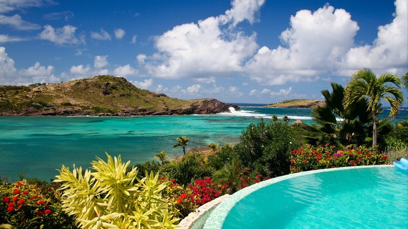 Edge of Pool Overlooking Lagoon on Caribbean Island of St. Barts, French West Indies