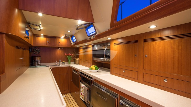 Spacious galley laid out for gourmet cooking