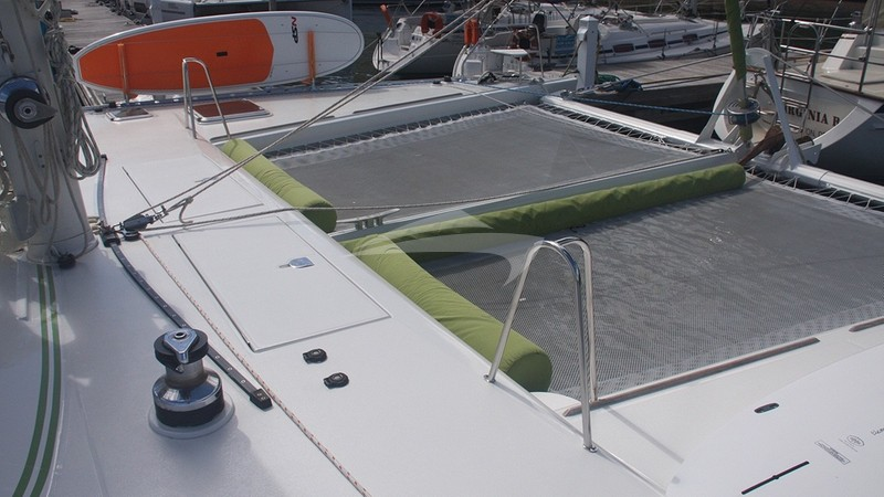 The foredeck lounging area