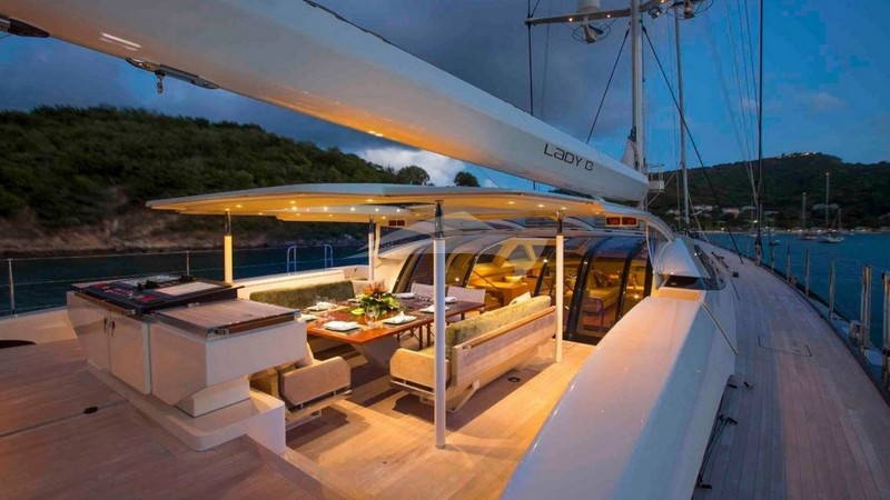 Aft Deck Dining at Night