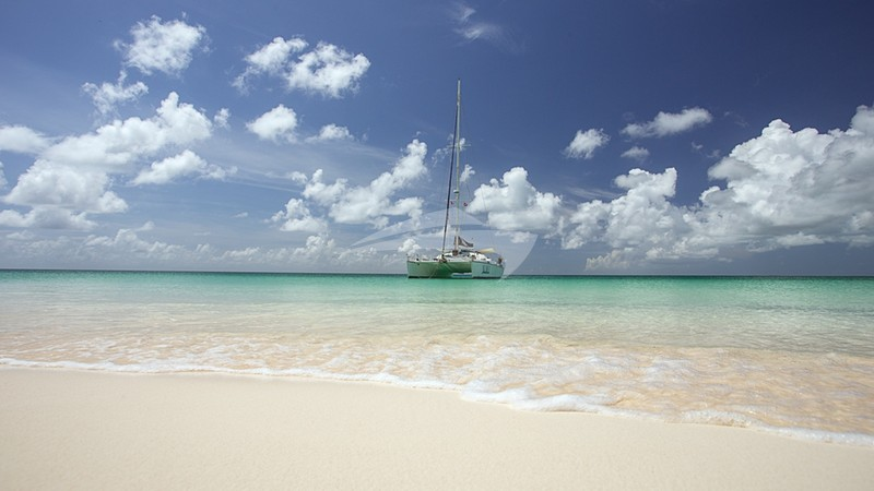 Anchored just off the beach on Barbuda