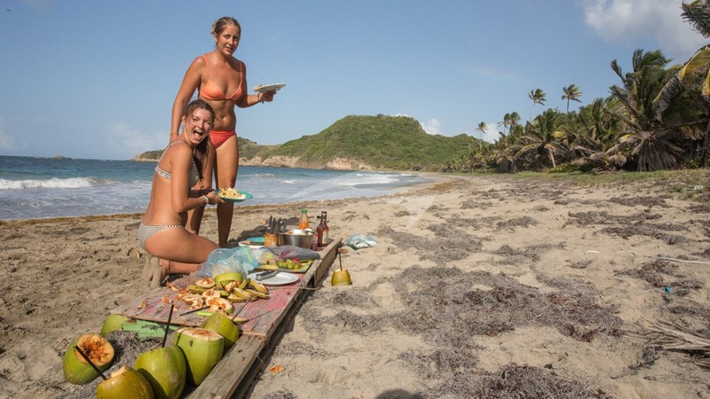 Beach BBQ on Ronde Island, the Grenadines