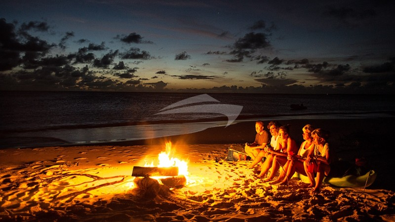 Nighttime campfire on the beach on Barbuda